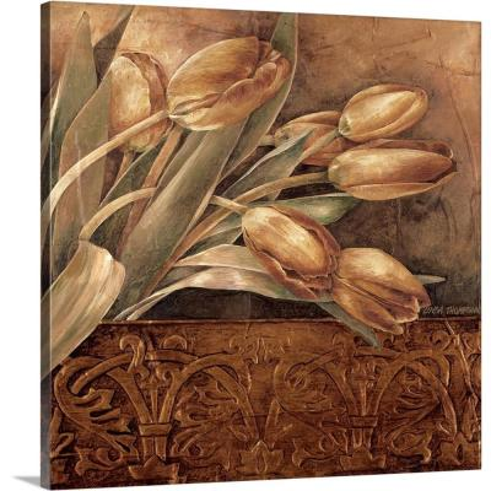 """Copper Tulips II"" by Linda Thompson Canvas Wall Art"
