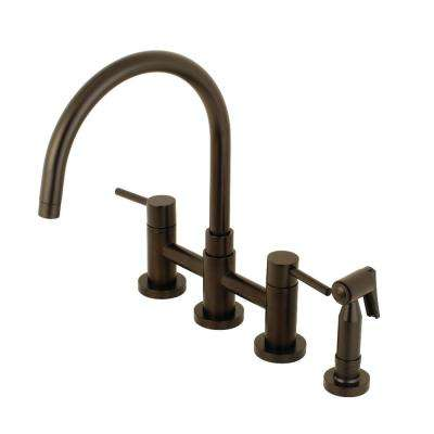 Concord 2-Handle Bridge Kitchen Faucet with Side Sprayer in Oil Rubbed Bronze