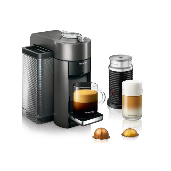 Nespresso DeLonghi Vertuo Graphite Metal Single Serve Coffee and Espresso Machine with Aeroccino