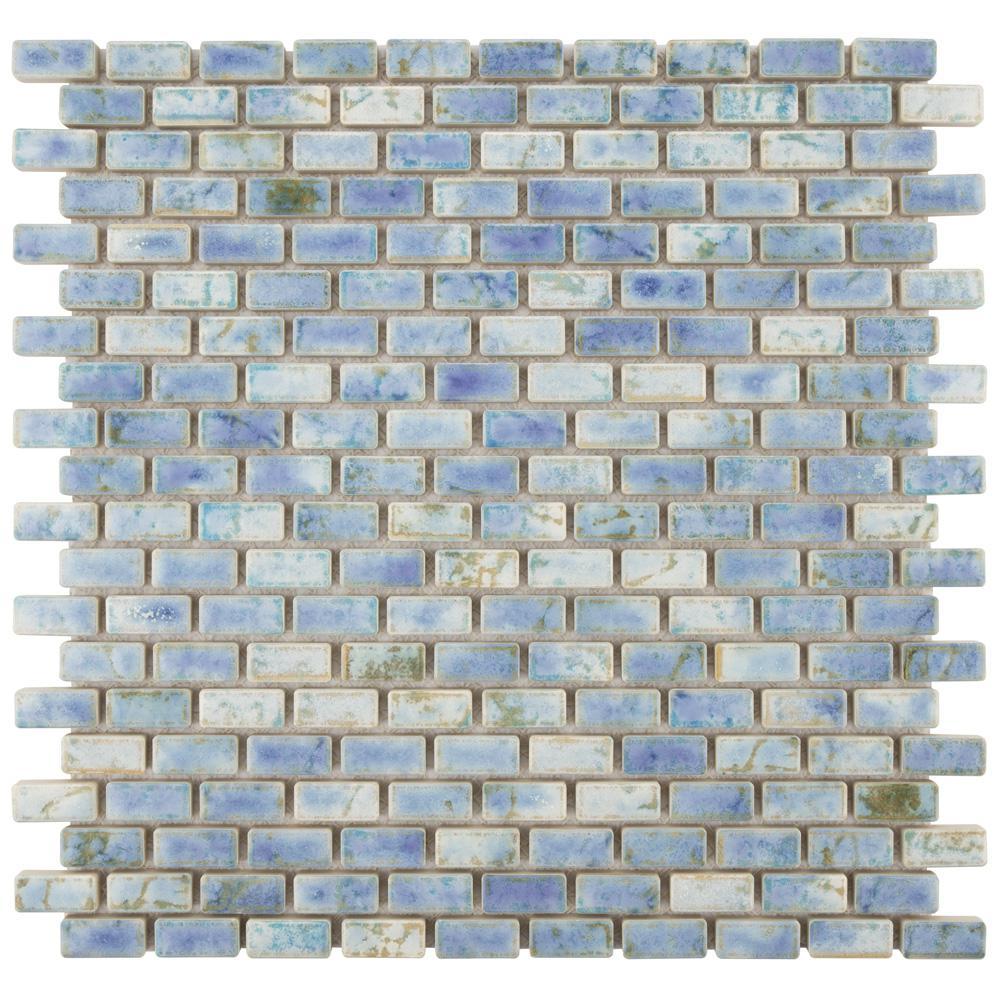 Merola Tile Rustica Subway Neptune Blue