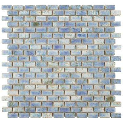 Rustica Subway Neptune Blue 11-3/4 in. x 11-3/4 in. x 8 mm Porcelain Mosaic Tile