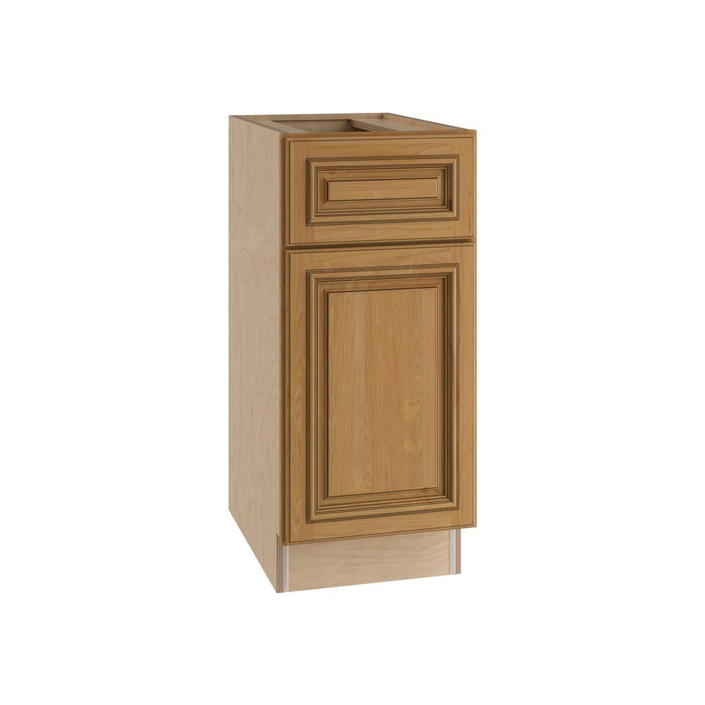 Home Decorators Collection Clevedon Assembled 18x34.5x24 in. Single Door, Drawer & 2 Rollout Trays Hinge Left Base Kitchen Cabinet in Toffee Glaze