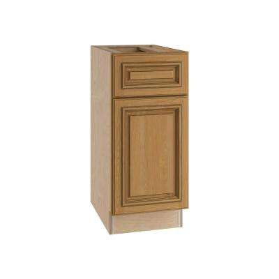 Clevedon Assembled 21x34.5x24 in. Single Door & Drawer Hinge Left Base Kitchen Cabinet in Toffee Glaze