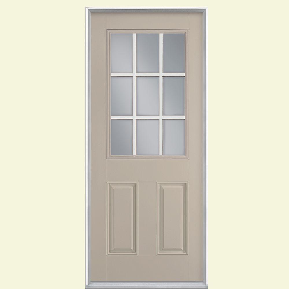 Masonite 36 in. x 80 in. 9 Lite Canyon View Right-Hand Inswing Painted Smooth Fiberglass Prehung Front Door with No Brickmold