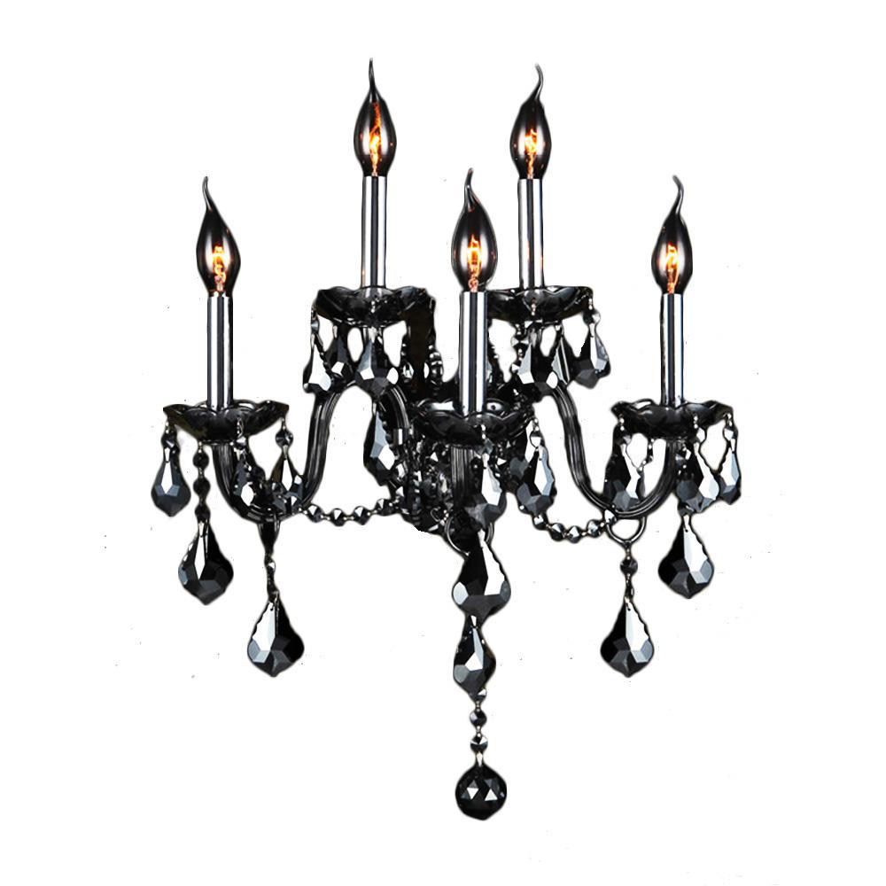 Worldwide Lighting Provence Collection 5-Light Chrome and Smoke Crystal Sconce