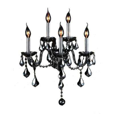 Provence Collection 5-Light Chrome and Smoke Crystal Sconce