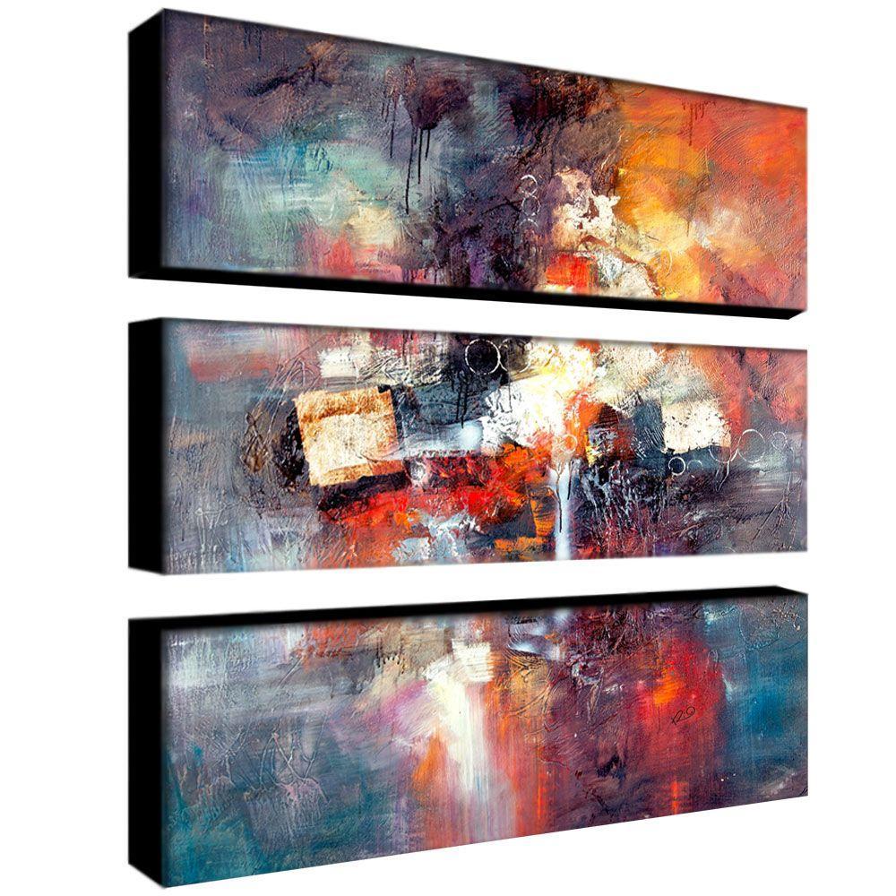 Trademark Fine Art 32 in. x 10 in. Cube Abstract III 3-Piece Canvas Art Set