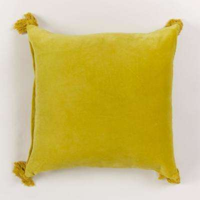 American Colors reversible Solid Yellow Velvet Pillow with tassels