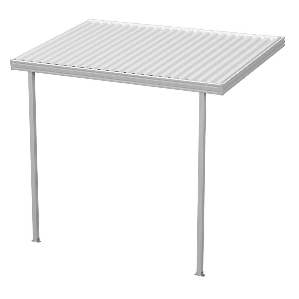 12 ft. x 8 ft. White Aluminum Attached Solid Patio Cover ...