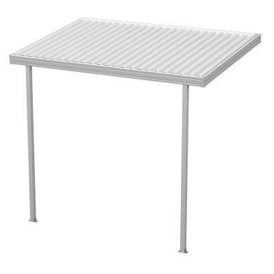 12 ft. x 8 ft. White Aluminum Attached Solid Patio Cover with 2 Posts (20 lbs. Live Load)