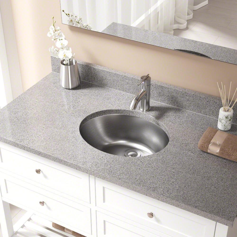 Dual-Mount Bathroom Vessel Sink in Stainless Steel