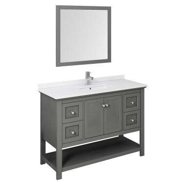 Manchester Regal 48 in. W Bathroom Vanity in Gray Wood with Quartz Stone Vanity Top in White with White Basin and Mirror