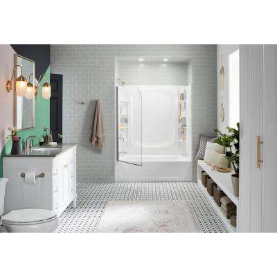 STORE+ 5 ft. Left-Hand Drain Rectangular Alcove Bathtub with Wall Set and 10-Piece Accessory Set in White