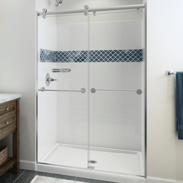 UPstile 34 in. x 48 in. x 74 in. 3-Piece Direct-To-Stud Alcove Shower Surround with Customizable Design in White