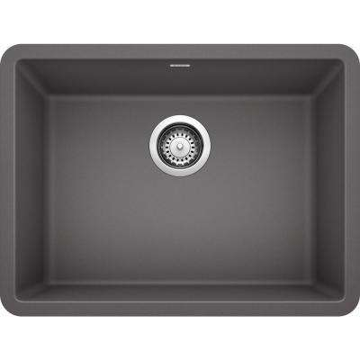 PRECIS Undermount Granite Composite 24 in. Single Bowl Kitchen Sink in  Cinder