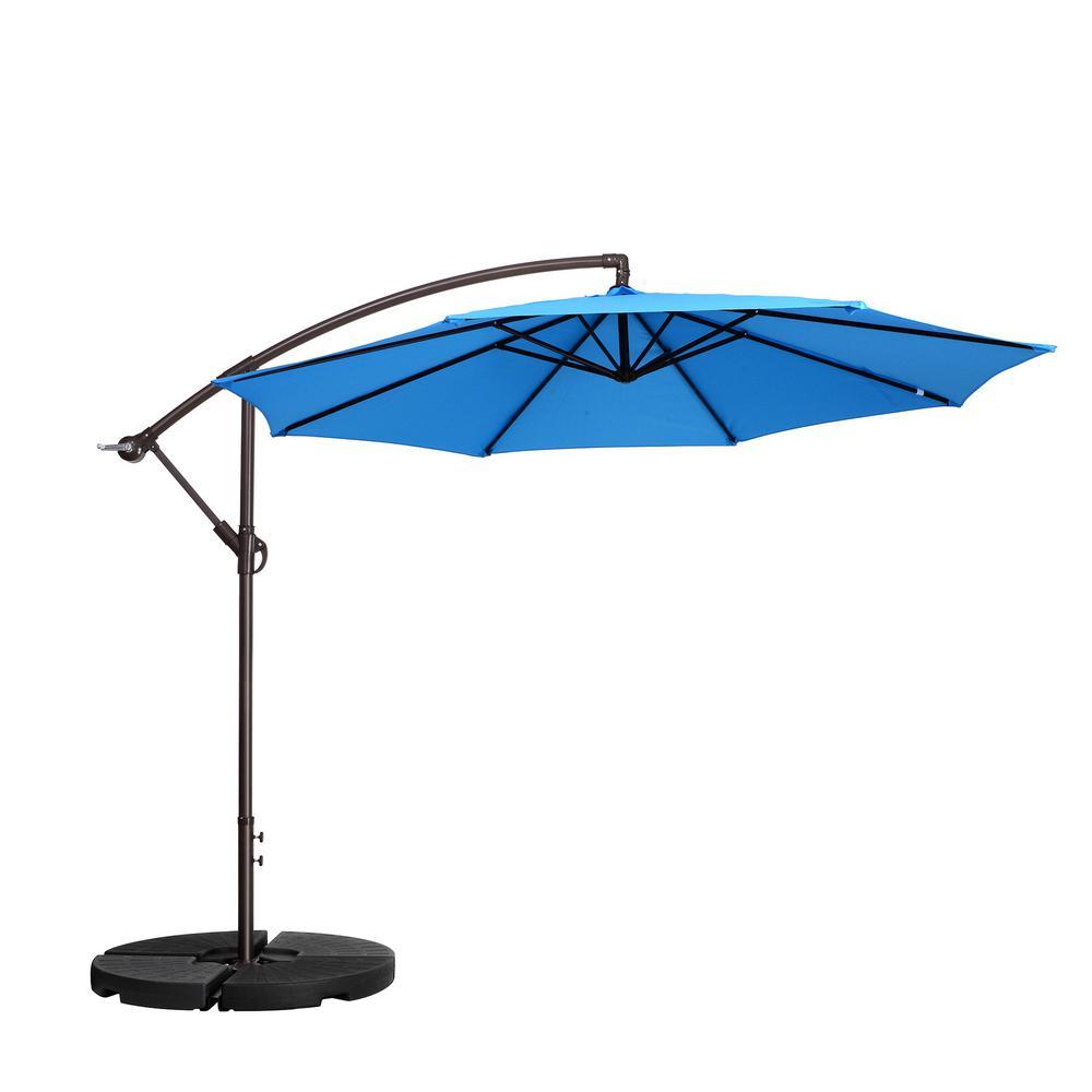 10 ft. Aluminum Cantilever Tilt Patio Umbrella in Blue