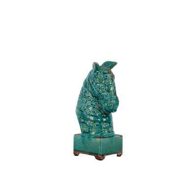 11.5 in. H Horse Decorative Sculpture in Turquoise Gloss Distressed Finish