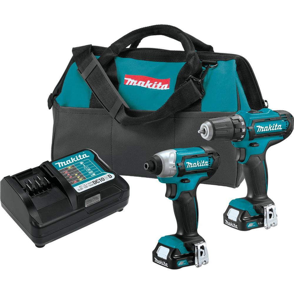 Makita 12-Volt MAX CXT Lithium-Ion Cordless 3/8 in. Drill and Impact Driver Combo Kit with (2) 1.5Ah Batteries Charger and Bag
