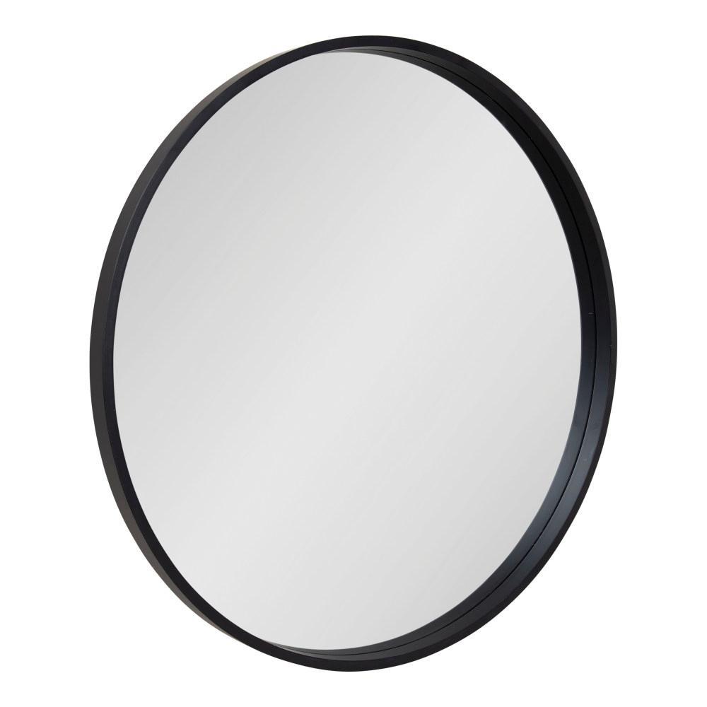 Travis 31.5 in. x 31.5 in. Modern Round Black Wall Mirror