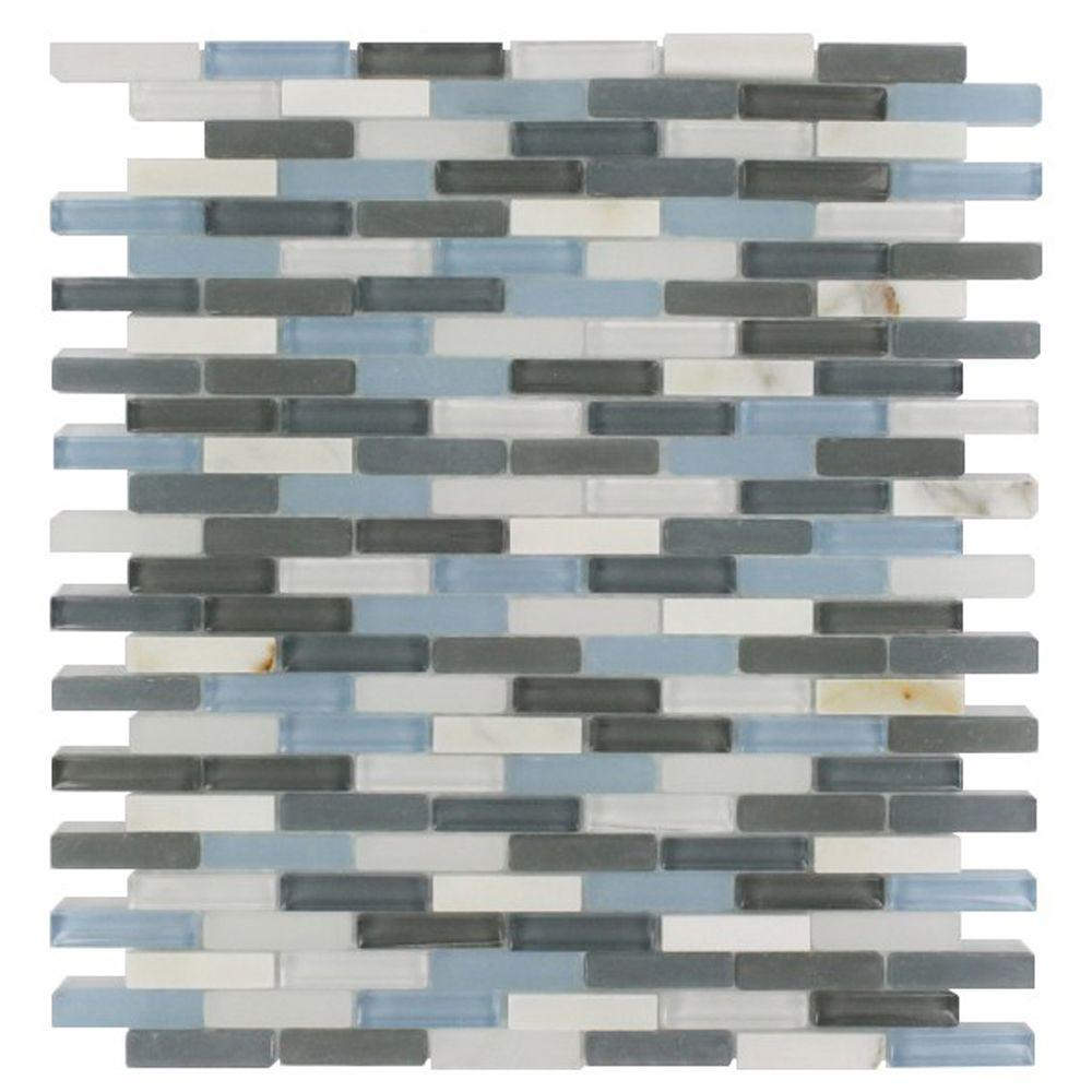 Splashback Tile Cleveland Shannon Mini Brick 10 in. x 11 in. x 8 mm Mixed Materials Mosaic Floor and Wall Tile