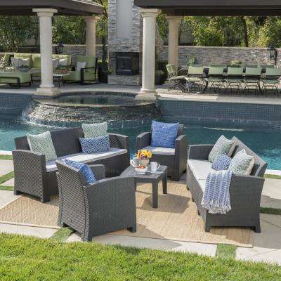 5-Piece Wicker Patio Conversation Set with Light Gray Cushions