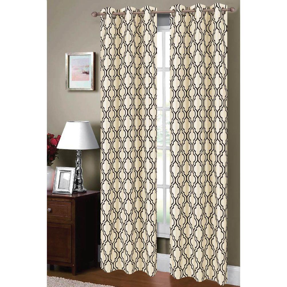 Window Elements Semi Opaque Lattice Flocked Faux Silk 84 In L Grommet Curtain Panel