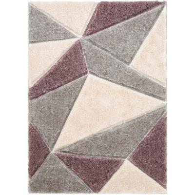 San Francisco Venice Purple Modern Geometric Abstract 3 ft. 11 in. x 5 ft. 3 in. 3D Carved Shag Area Rug
