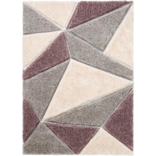 San Francisco Venice Purple Modern Geometric Abstract 5 ft. 3 in. x 7 ft. 3 in. 3D Carved Shag Area Rug