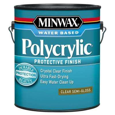 1 gal. Clear Semi-Gloss Polycrylic Protective Finish for Interior Wood (2-Pack)