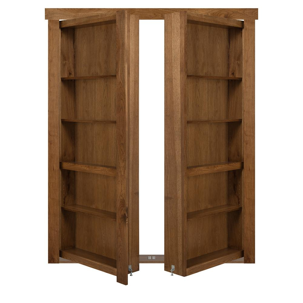 The Murphy Door 48 In X 80 In Flush Mount Assembled Hickory Medium Brown Stained Universal