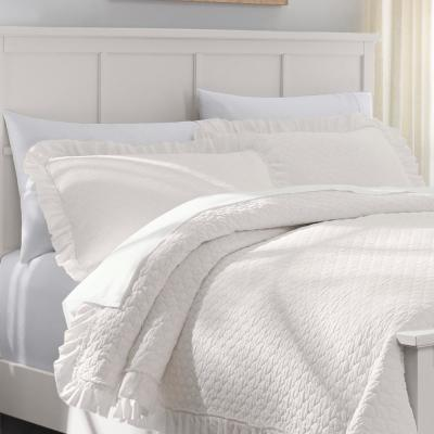 Evalee Cotton Ruffled Ivory Solid Quilt Set