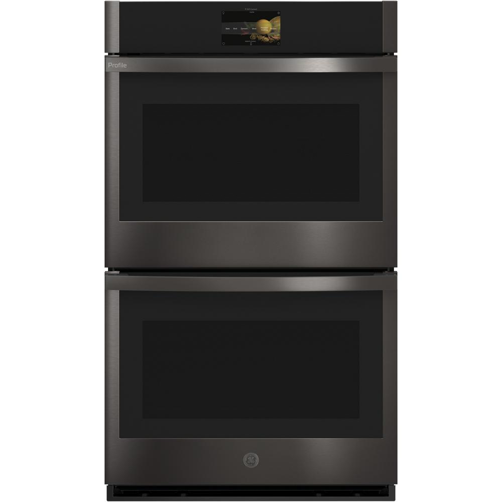 GE Profile 30 in. Double Electric Wall Oven with Convection Self-Cleaning in Black Stainless Steel, Fingerprint Resistant