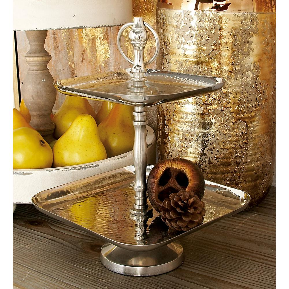 15 in. 2-Tiered Silver Aluminum and Stainless Steel Square Tray Stand