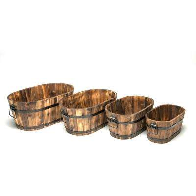 DeVault Wooden Oval Planter (Set of 4)