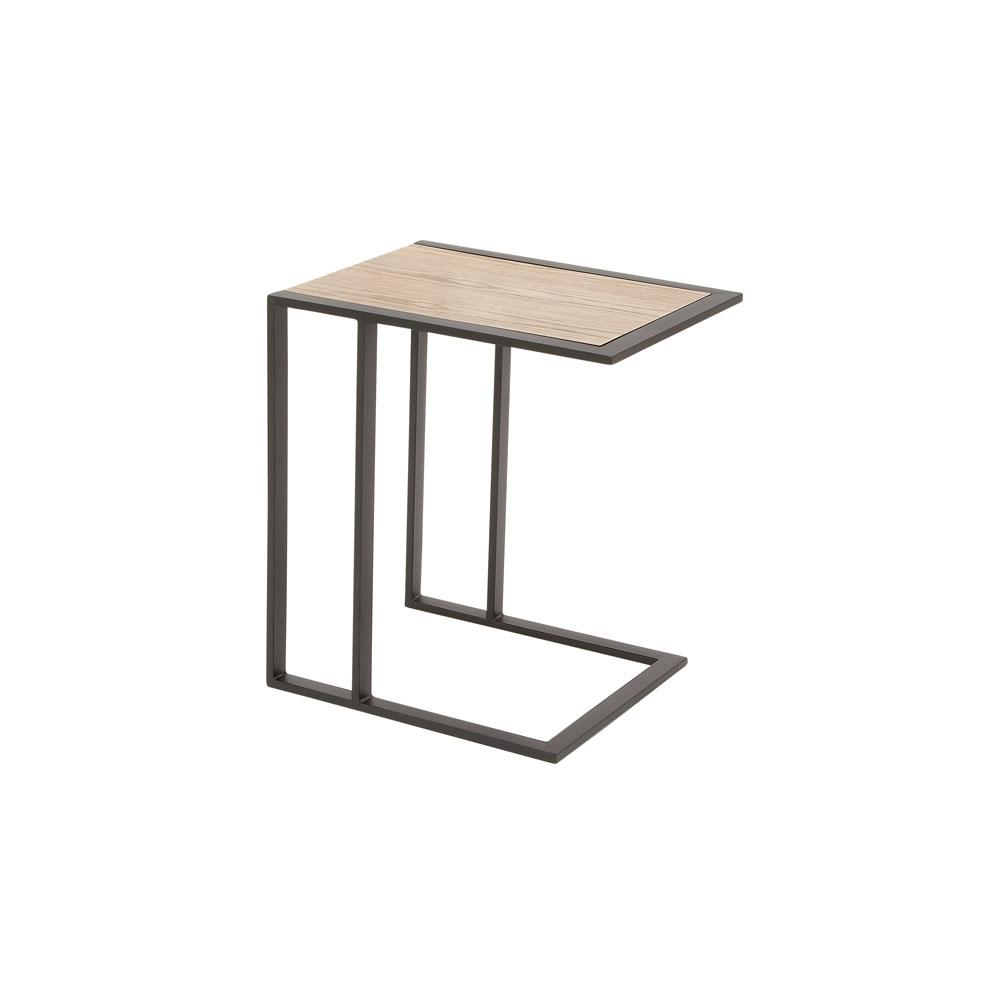 Light Brown Rectangular Side Table with Black Iron Frame and Legs