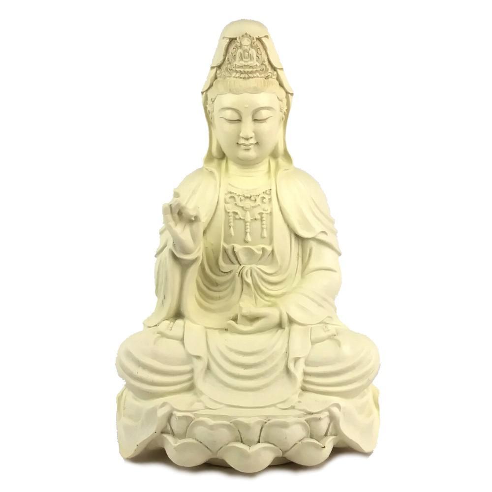 Quan Yin (Guanyin, Kwan Yin) on Lotus Statue Figurine