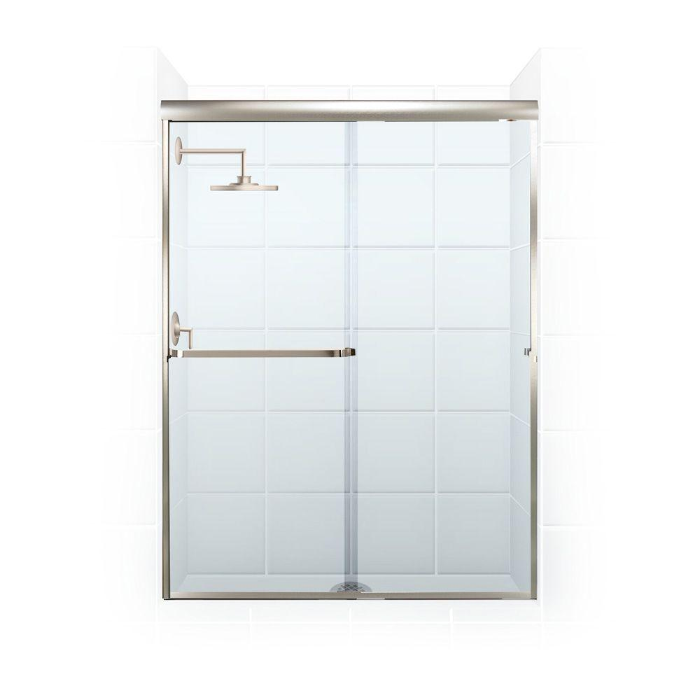 Coastal Shower Doors Paragon 3/16 B Series 56 in. x 65 in. Semi-Framed Sliding Shower Door with Towel Bar in Brushed Nickel and Clear Glass