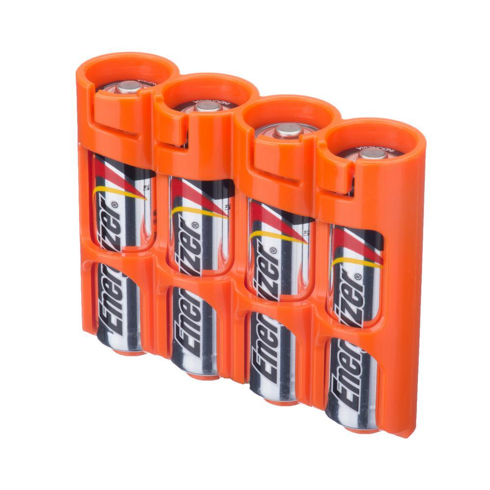 Storacell Slim Line AA Battery Organizer and Dispenser, Oranges/Peaches The Storacell by Powerpax Slim Line AA Battery Organizer and Dispenser is a safe and innovative method for carrying and storing batteries. It's designed to hold up to 4 AA batteries, each in their own protective sleeve so they don't come in contact with other batteries. The compact design makes them easy to carry in a travel bag, camera bag or coat pocket. Color: Oranges/Peaches.