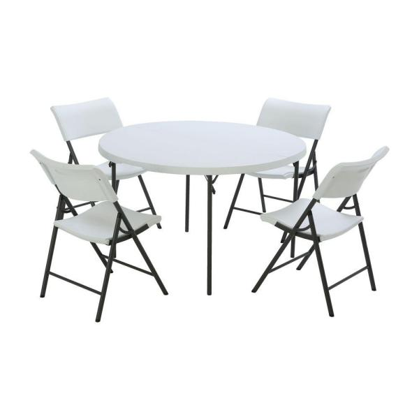 5-Piece White Outdoor Safe Fold-in-Half Folding Table Set