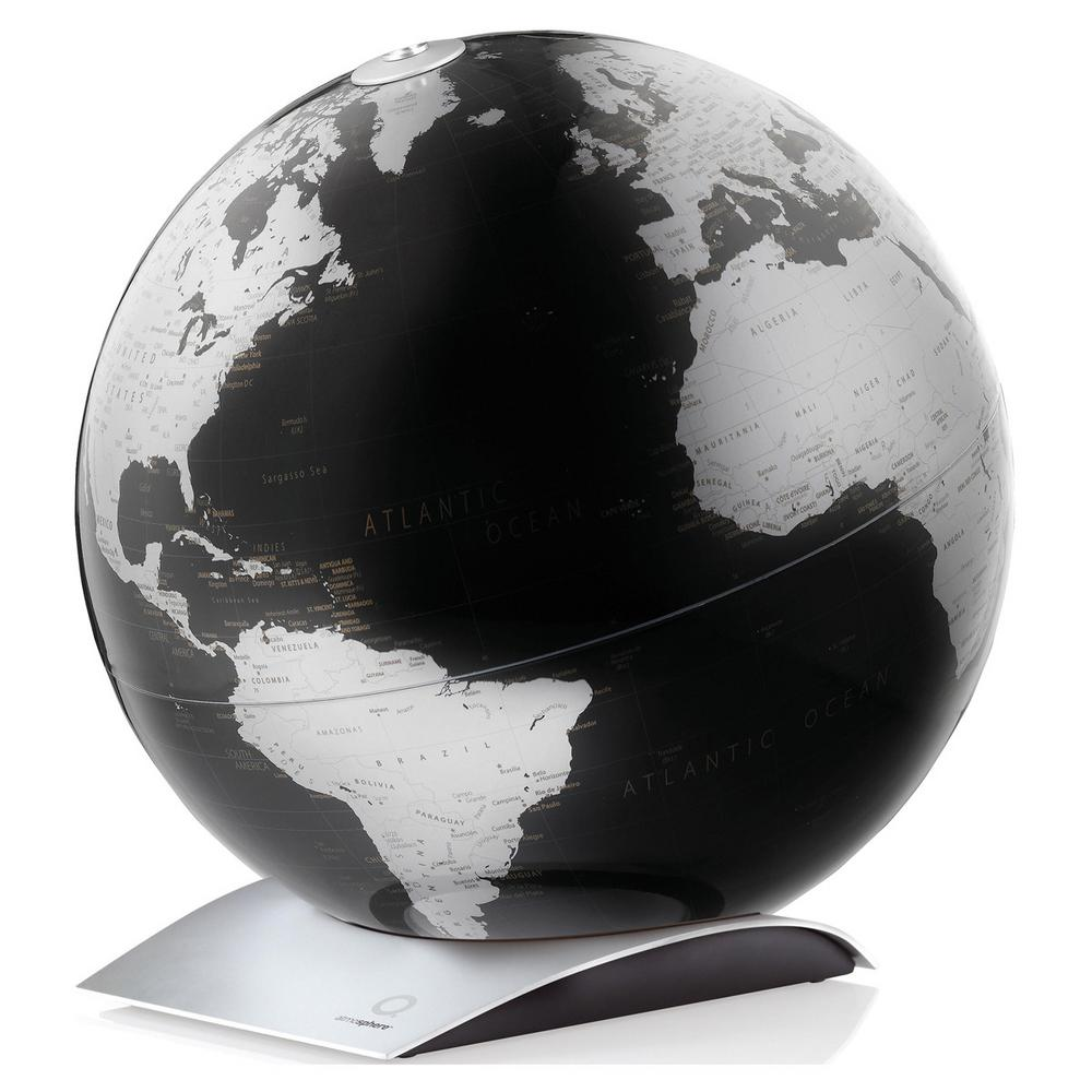 Waypoint Geographic Capital Q 12 in. Decorative Desktop Globe in Black The Capital Q is a 12 globe with a minimalistic map design, giving way to feature its silver color landmass and black ocean coloring with aluminum base. The globe sits on its stand so you can pick it up and adjust its position to display how you desire. This globe is an excellent addition to a table or desk in which a modern design is desired.You will find single content coloring with up-to-date countries labeled and delineated by line. This globe makes a great reference tool as well as a decorative accent.Add a touch of color to your room with this decorative globe.