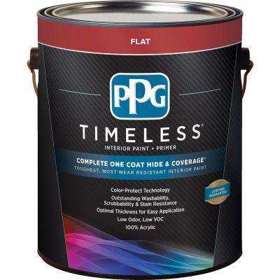 1 gal. Pure White/Base 1 Flat Interior Paint with Primer