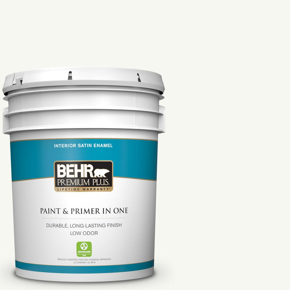 BEHR Premium Plus 5 gal. #YL-W10 Night Blooming Jasmine Satin Enamel Low Odor Interior Paint and Primer in One
