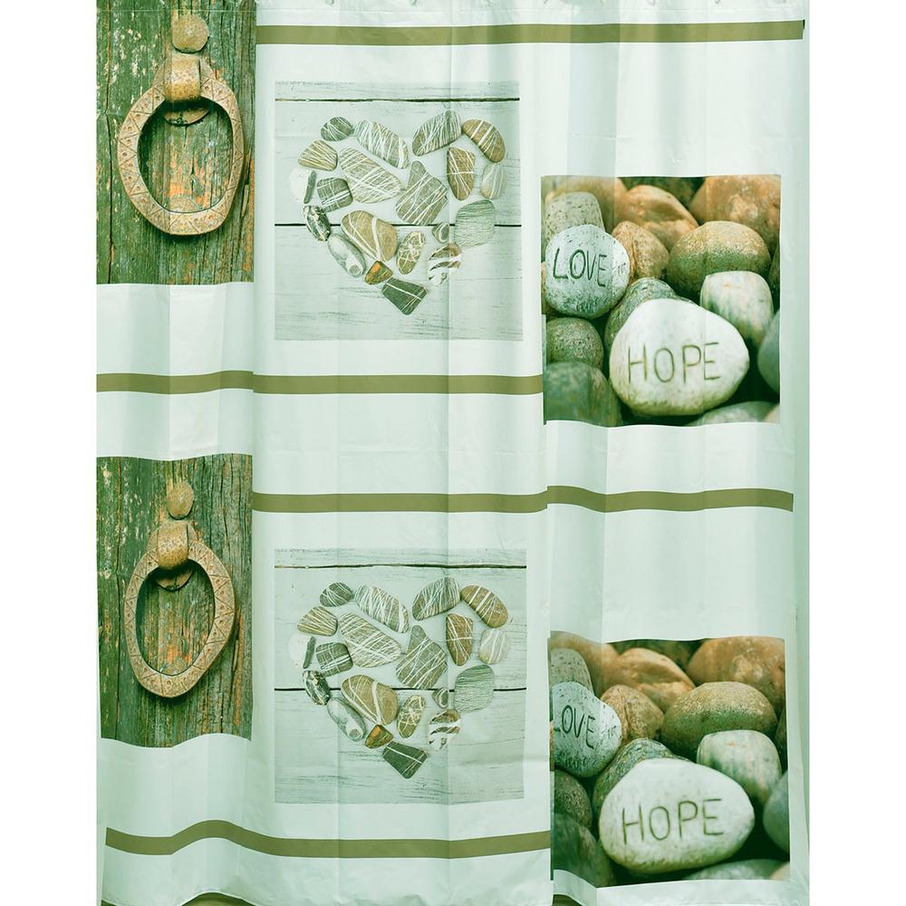 71 in. x 71 in. Beige Design Nature Bath Peva Liner Shower Curtain