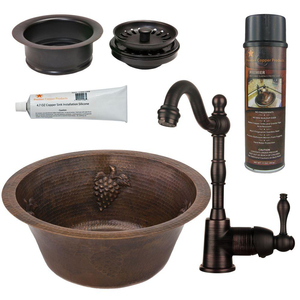 All-in-One Dual Mount Copper 16 in. 0-Hole Round Grapes Bar/Prep Sink