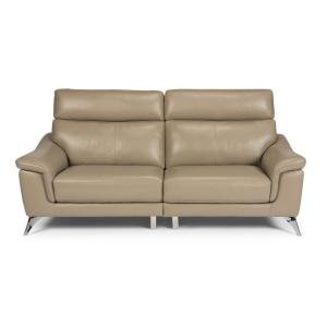 Fabulous Homestyles Moderno Beige Leather Contemporary Upholstered Bralicious Painted Fabric Chair Ideas Braliciousco