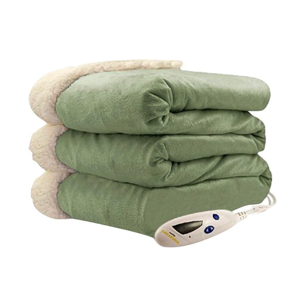 481bd16c040 Biddeford Blankets 4480 Series 1-Size Sage Mink with Natural Sherpa Heated  Throw