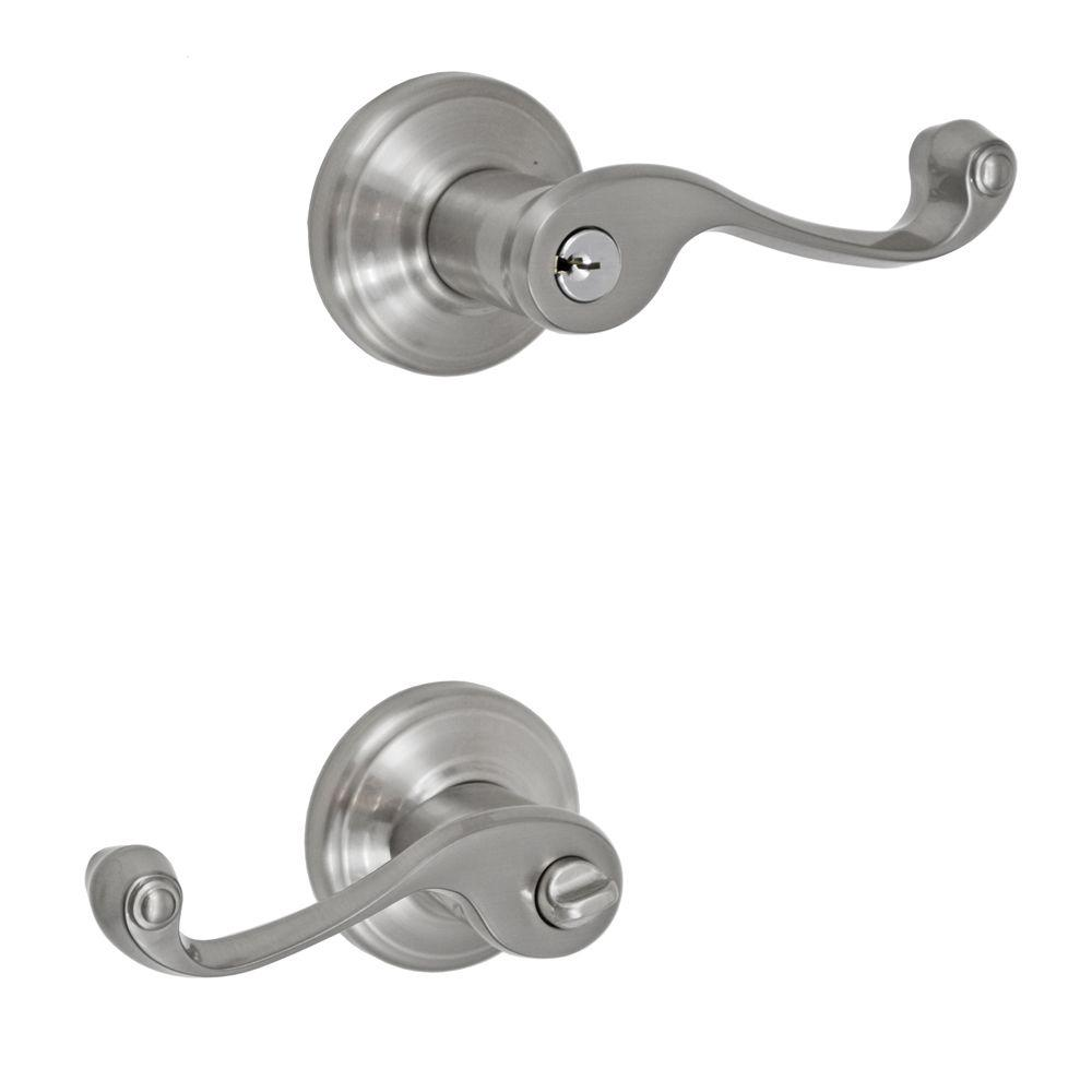 Fusion Solid Brass Brushed Nickel Ornate Right-Handed Keyed Entry Lever with Ketme Rose