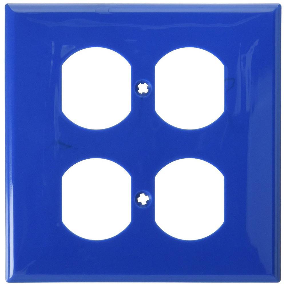 leviton 2gang standard size 2duplex receptacles nylon wallplate blue