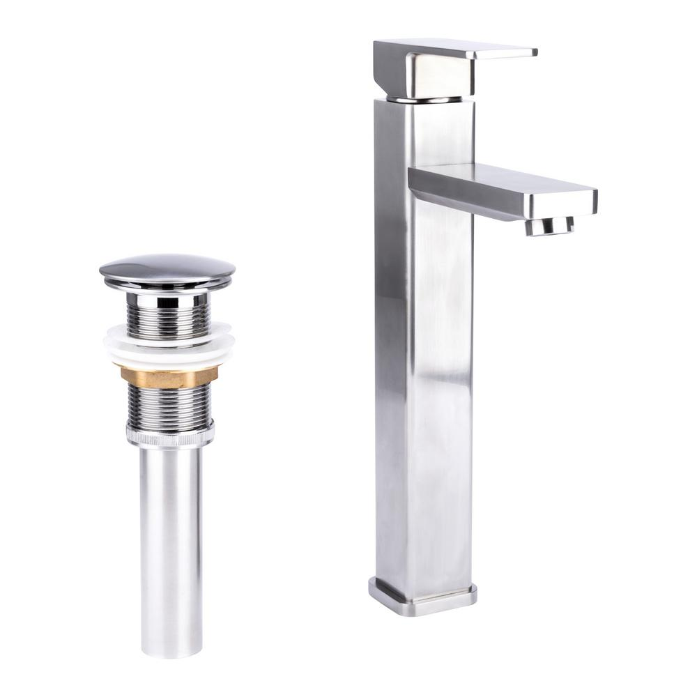 Brienza Square Single Hole Single-Handle Vessel Bathroom Faucet with Drain in Brushed Nickel