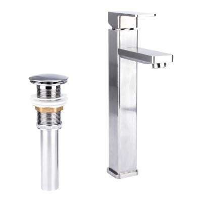 Square Single Hole Single-Handle Vessel Bathroom Faucet with Drain in Brushed Nickel